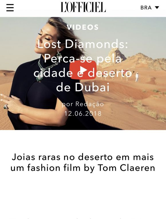 L'OFFICIEL BRASIL<br><b><i>LOST DIAMONDS</I> FILM FEATURE</b>