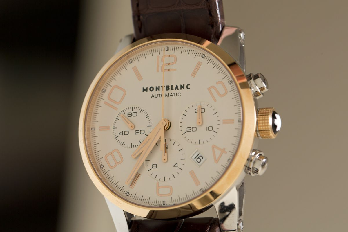 montblanc watch Timewalker Collection, Steel Gold Chronograph Automatic detail